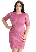 Half-Sleeve-Fitted-Lace-Plus-Size-Midi-Dress