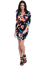 Wholesale-V-Neck-Floral-Wrap-Dress