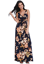 Wholesale-V-Neck-Floral-Wrap-Maxi-Dress