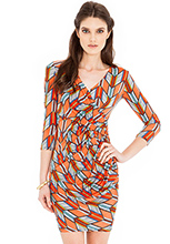 Aztec-Print-Wrap-Dress