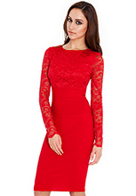 Long-sleeve-lace-and-bengaline-dress