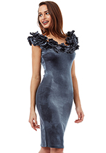 Wholesale-Velvet-Midi-Dress-with-Flower-Neckline
