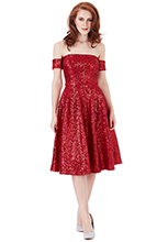 Wholesale-Sequin-Bardot-Midi-Dress