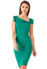 Wholesale-Square-Sleeved-Bodycon-Dress-with-Folded-Neckline
