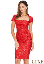 Short-Sleeve-Ruched-Sequin-Midi-Party-Dress