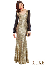 Sheer-Sleeved-Sequined-Dress