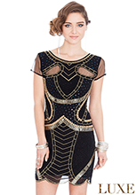 Wholesale-Embellished-Mesh-Short-Sleeved-Flapper-Mini-Dress