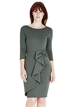 Waterfall-Peplum-Quarter-Sleeve-Midi-Dress