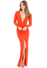 Plunge-Neck-And-Ruched-Front-Maxi-Dress
