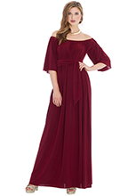 Off-Shoulder-Three-Quarter-Sleeve-Maxi-Dress-with-Tie