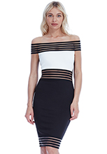 Wholesale-Off-Shoulder-Contrast-Midi-Dress