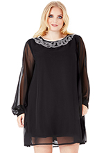 Wholesale-Plus-Size-Embellished-Shift-Dress-with-Long-Sleeves