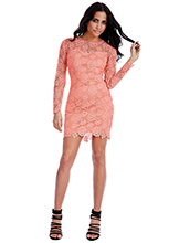 Wholesale-Floral-Lace-Long-Sleeved-Mini-Dress