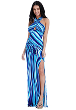 Wholesale-Front-Split-Printed-Maxi-Dress