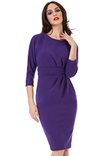 Wholesale-Three-Quarter-Sleeved-Midi-Dress-with-Side-Pleating-Detail