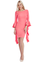 Wholesale-Fitted-Midi-Dress-with-Waterfall-Sleeves