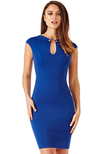 Wholesale-Keyhole-Fitted-Midi-Dress-with-Metal-Bar-Detail