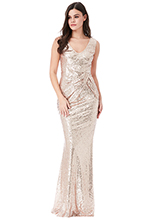Wholesale-V-Neck-Sequin-Maxi-Dress-with-Bow-Detail