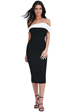 Wholesale-Multi-Way-Bardot-Neckline-Midi-Dress