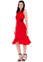 Wholesale-Open-Back-Frill-Midi-Dress-with-Band-Detail