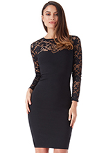 Wholesale-Fitted-Lace-Midi-Dress-with-Long-Sleeves
