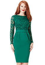 Wholesale-Long-Sleeved-Lace-Midi-Dress