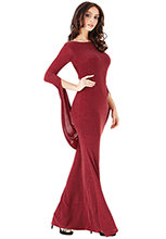 Wholesale-Open-Back-Glitter-Maxi-Dress-with-Scarf-Style-Sleeve