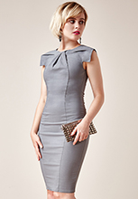 Wholesale-Pleated-Fitted-Midi-Dress