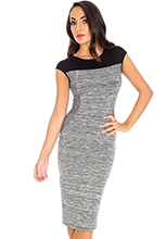 Contrast-cap-sleeve-marl-heavy-jersey-dress