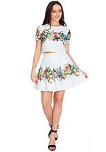 Placement-Floral-Print-Stretch-Jacquard-Mini-Skirt