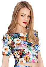 Floral-Print-Stretch-Jacquard-Crop-Top