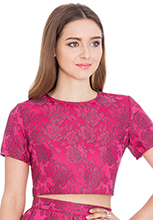 Floral-Jacquard-Short-Sleeved-Crop-Top