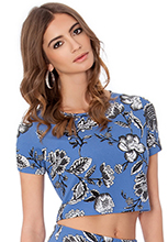 Floral-Print-Short-Sleeve-Crop-Top
