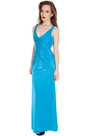 Wholesale Ruched front v neck plunge maxi