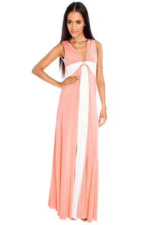 Wholesale Draped Grecian Column Panel Maxi Dress