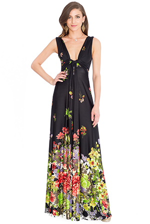 Wholesale Gradiated Floral Print V Neck Maxi Dress