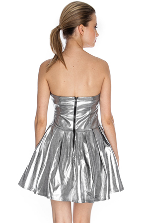 Wholesale Leather Look Foil Rockstar Dress in the style of Cara Delevigne