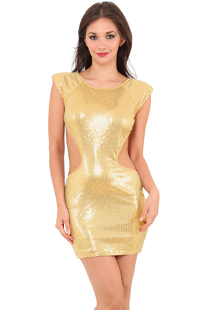 Wholesale Sequin Cut Out Bodycon Dress