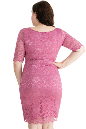 Wholesale Half Sleeve Fitted Lace Plus Size Midi Dress