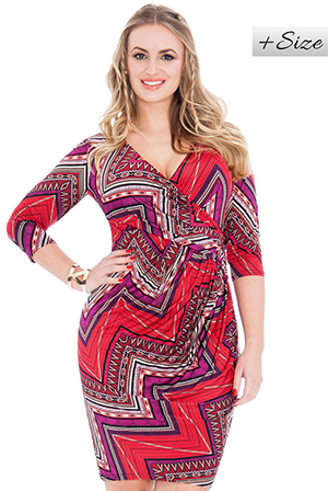 Wholesale Quarter Sleeve V Neck Printed Midi Plus Size Dress