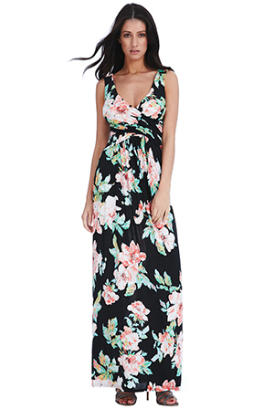 Wholesale-Crossover-Floral-Maxi-Dress