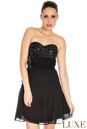 Wholesale Jewelled Bandeau Chiffon Dress