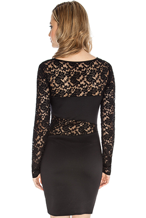 Wholesale Lace Insert Bodycon Dress