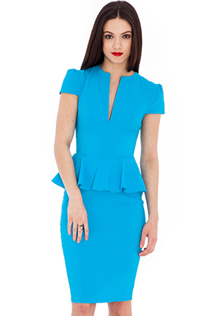 Wholesale Deep V Peplum Dress