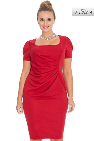 Wholesale Half Sleeve Ruched Plus Size Midi Dress