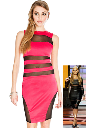 Wholesale Mesh Panelled Bodycon Dress in the style of Jennifer Lopez