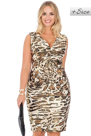 Wholesale Animal Print Ruched Front Sleeveless Jersey Dress