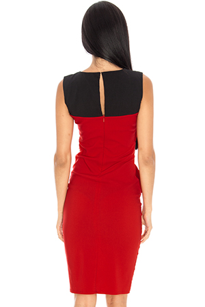 Wholesale Oversize waist detail contrast fitted dress