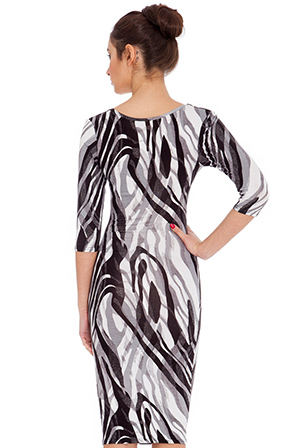 Wholesale Abstract Print Quarter Sleeved Midi Dress