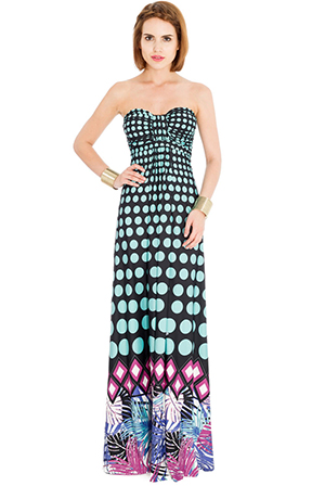 Wholesale Polka Dot Palm Leaves Bandeau Maxi Dress